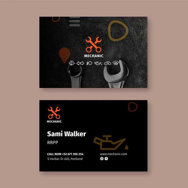 Impresión de tarjetas personales para taller mecánico y profesionales de la mecánica de vehículos.