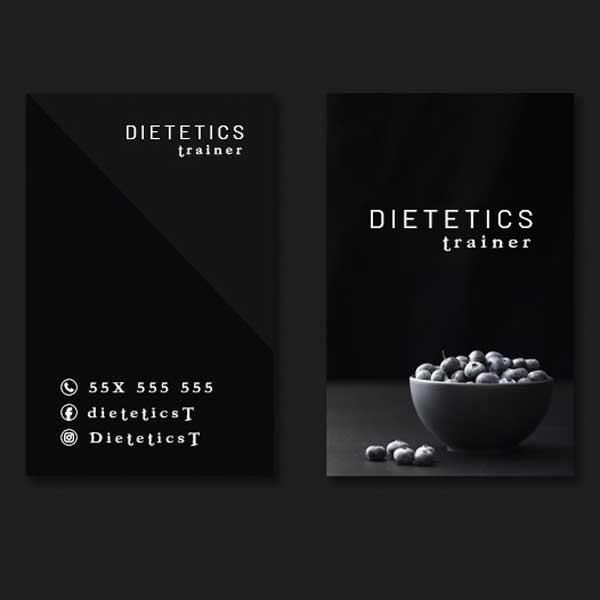 Imprimir tarjetas personales para nutrición y dietética, dietistas y nutricionistas.