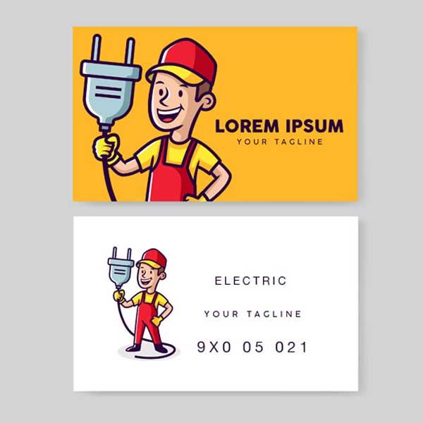 Impresión de tarjetas personales para electricistas profesionales.
