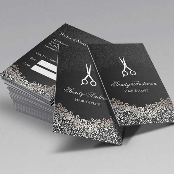 Imprimir tarjetas de presentación para estilistas.