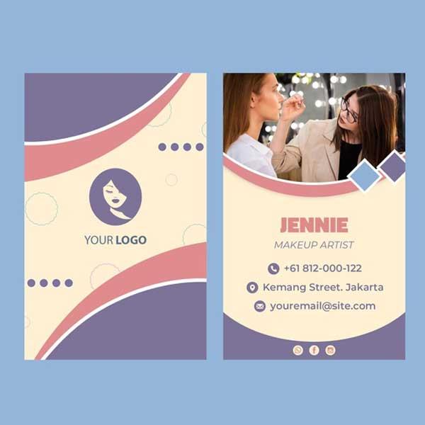 Impresión de tarjetas personales de maquillaje profesionales.