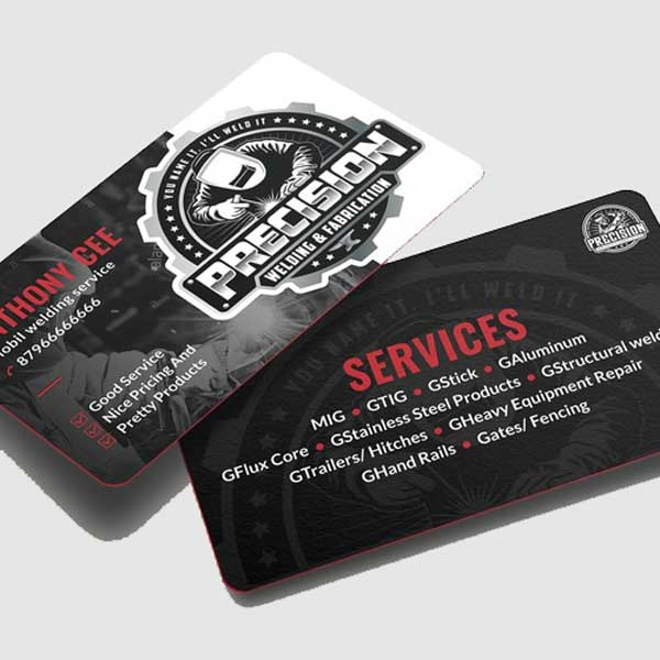 Impresión de tarjetas personales para soldadores y profesionales de la soldadura.