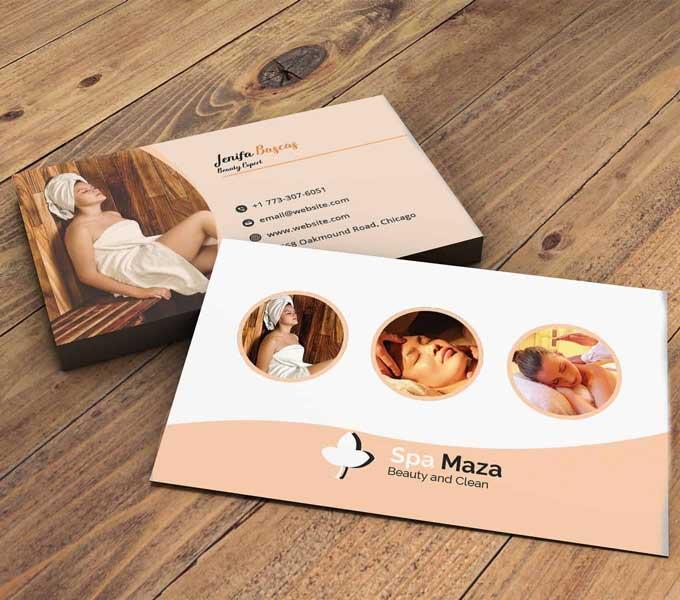 Imprimir tarjetas personales para spa y balnearios.