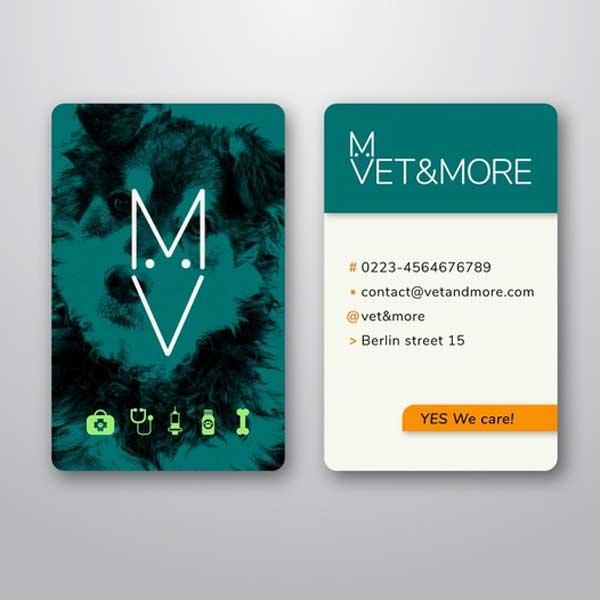 Impresión de tarjetas personales para profesionales de la veterinaria.